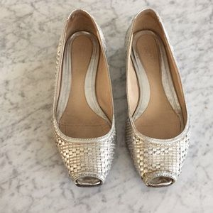 Fendi Metallic Peep-Toe Flats best place to buy buy cheap newest 4HgMEVhKl